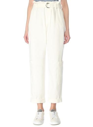 Brunello Cucinelli 101614073 Yüksek Bel Bol Paça Kemerli 6 Cepli Kadın Pantolon Beyaz